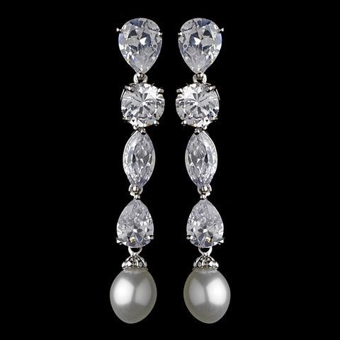 Crystals, Cubic Zirconias, Drop, Earrings, Faux Pearls, Jewelry, Marquise, Pear, Pearls, Rhodium, White
