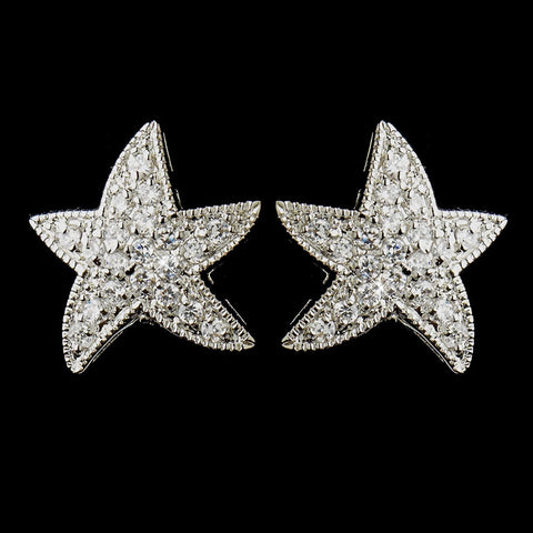 Beach, Clear, Crystals, Cubic Zirconias, Earrings, Jewelry, Rhodium, Starfish, Stud