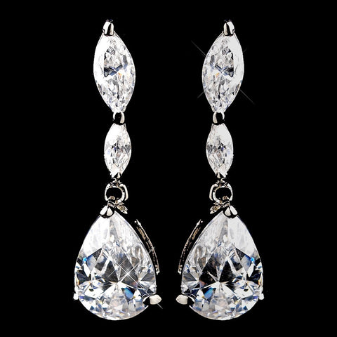 Clear, Crystals, Cubic Zirconias, Dangle, Earrings, Jewelry, Marquise, Pear, Rhodium