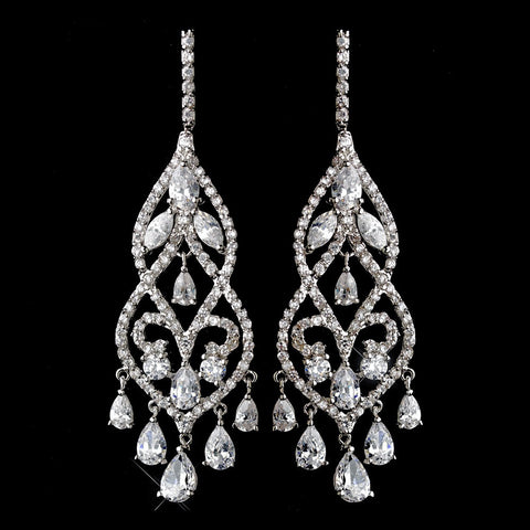 Chandelier, Clear, Crystals, Cubic Zirconias, Earrings, Jewelry, Pear, Rhodium