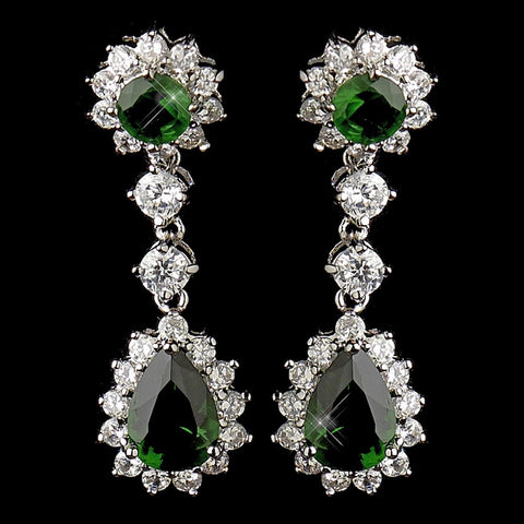 Celebrity, Crystals, Cubic Zirconias, Dangle, Earrings, Emerald, Green, Jewelry, Kate Middleton, Pear, Rhodium, Royal Princess