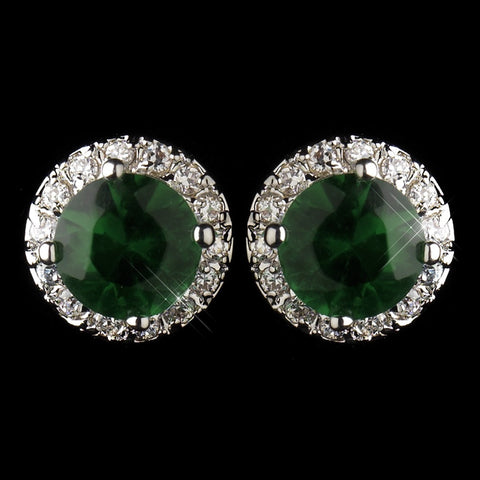 Celebrity, Circle, Crystals, Cubic Zirconias, Earrings, Emerald, Green, Jewelry, Kate Middleton, Rhodium, Royal Princess, Stud