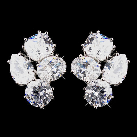 Clear, Crystals, Cubic Zirconias, Cushion, Earrings, Jewelry, Oval, Pear, Rhodium, Stud