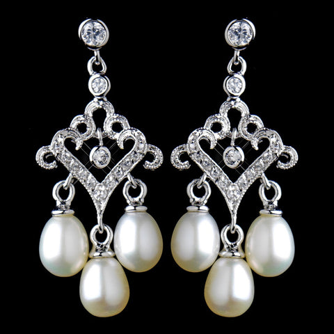 Chandelier, Crystals, Cubic Zirconias, Earrings, Freshwater Pearls, Ivory, Jewelry, Pearls, Rhodium