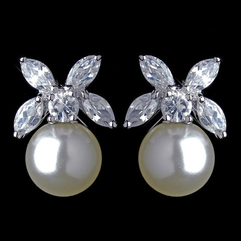 Crystals, Cubic Zirconias, Diamond White, Earrings, Faux Pearls, Jewelry, Marquise, Pearls, Rhodium, Stud