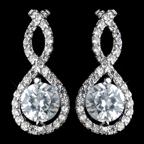 Clear, Crystals, Cubic Zirconias, Drop, Earrings, Infinity, Jewelry, Rhodium