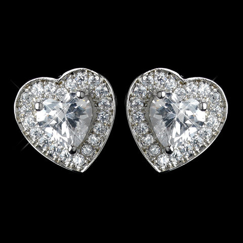 Clear, Crystals, Cubic Zirconias, Earrings, Heart, Hearts, Jewelry, Rhodium, Stud, Valentine's Day