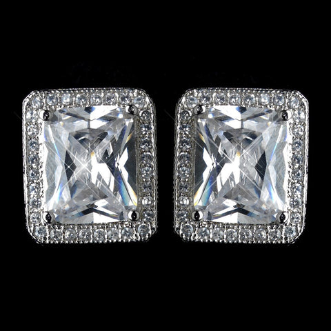 Clear, Crystals, Cubic Zirconias, Earrings, Jewelry, Radiant, Rhodium, Stud