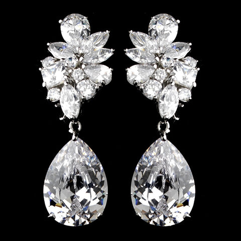 Clear, Clip-On, Crystals, Cubic Zirconias, Drop, Earrings, Jewelry, Marquise, Pear, Rhodium