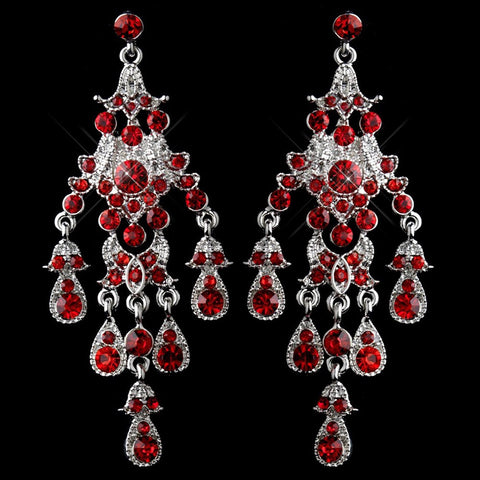 Chandelier, Earrings, Jewelry, Red, Rhinestones, Rhodium