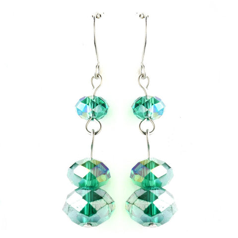 Crystals, Dangle, Earrings, Emerald, Green, Jewelry, Sale, Silver, Swarovski Crystal Beads