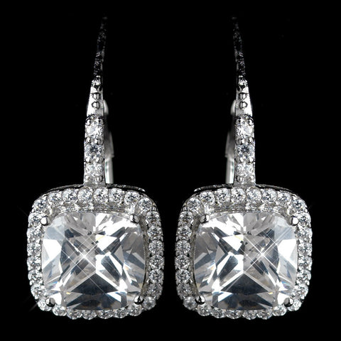 Clear, Crystals, Cubic Zirconias, Cushion, Earrings, Jewelry, Rhodium, Stud