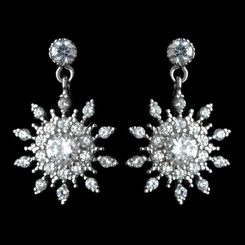 Clear, Crystals, Cubic Zirconias, Drop, Earrings, Jewelry, Rhodium, Snowflake, Winter