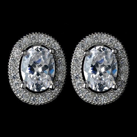 Circle, Clear, Crystals, Cubic Zirconias, Earrings, Jewelry, Oval, Rhodium, Stud