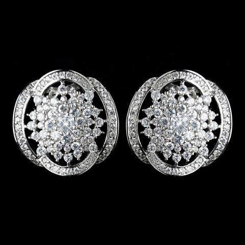 Circle, Clear, Crystals, Cubic Zirconias, Earrings, Jewelry, Movies & TV, Rhodium, Stud, The Great Gatsby