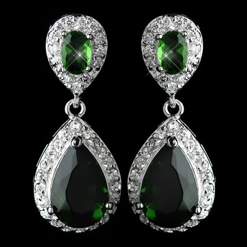 Crystals, Cubic Zirconias, Drop, Earrings, Emerald, Green, Jewelry, Pear, Rhodium
