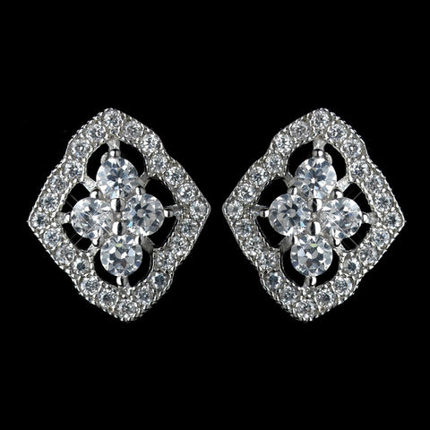 Clear, Crystals, Cubic Zirconias, Earrings, Jewelry, Rhodium, Stud