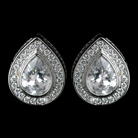 Clear, Crystals, Cubic Zirconias, Earrings, Jewelry, Pear, Rhodium, Stud