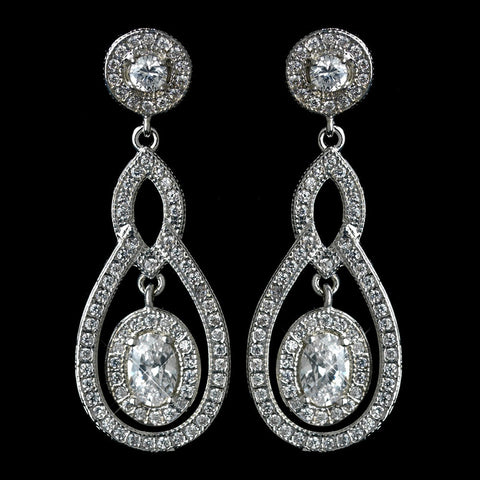Clear, Crystals, Cubic Zirconias, Drop, Earrings, Jewelry, Oval, Rhodium