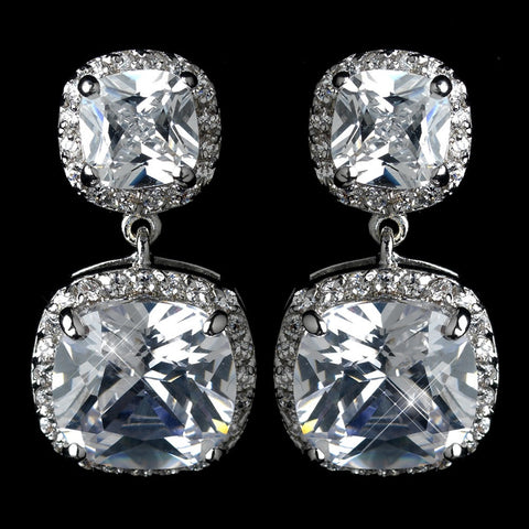 Clear, Crystals, Cubic Zirconias, Cushion, Drop, Earrings, Jewelry, Rhodium
