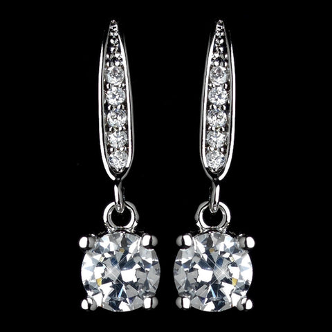 Clear, Crystals, Cubic Zirconias, Drop, Earrings, Jewelry, Rhodium