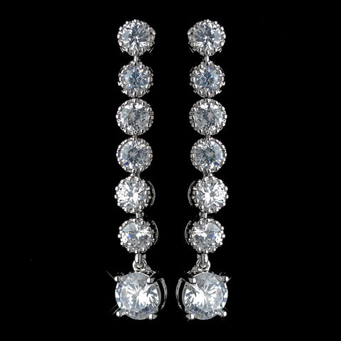 Clear, Crystals, Cubic Zirconias, Dangle, Earrings, Jewelry, Rhodium