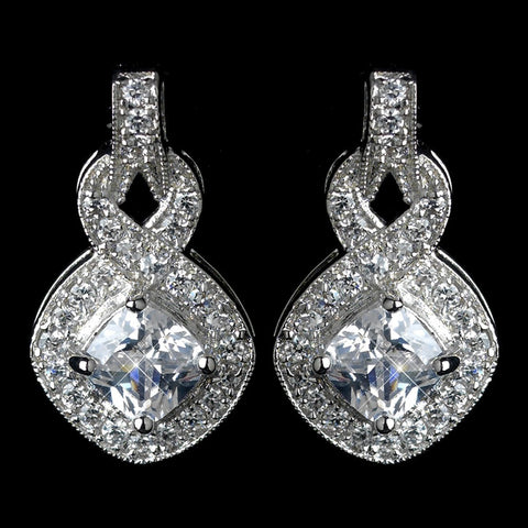 Clear, Crystals, Cubic Zirconias, Cushion, Drop, Earrings, Infinity, Jewelry, Rhodium