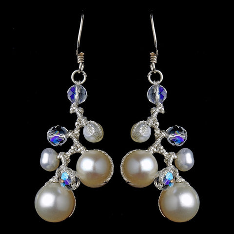 Crystals, Drop, Earrings, Freshwater Pearls, Ivory, Jewelry, Pearls, Silver