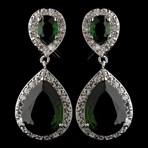 Crystals, Cubic Zirconias, Earrings, Emerald, Green, Jewelry, Pear, Rhodium