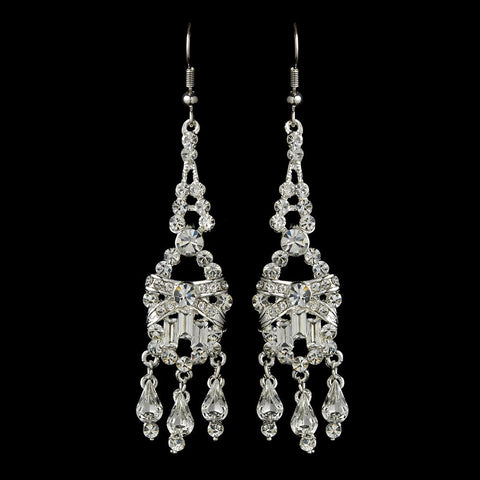Baguette, Chandelier, Clear, Earrings, Jewelry, Pear, Rhinestones, Silver