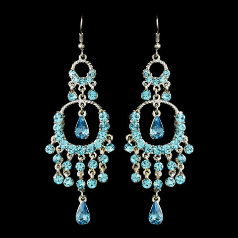 Aqua, Blue, Chandelier, Earrings, Jewelry, Pear, Rhinestones, Sale, Silver