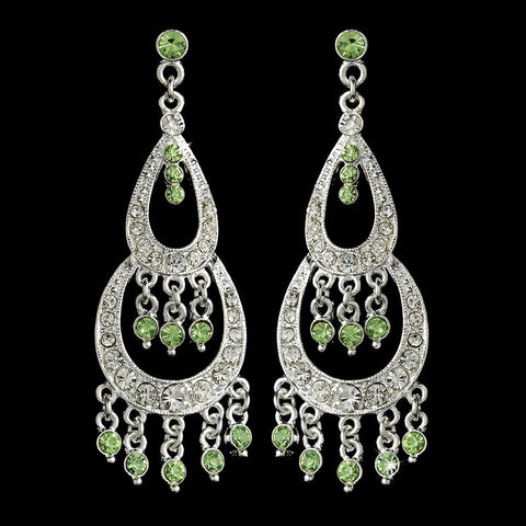 Chandelier, Earrings, Green, Jewelry, Rhinestones, Sale, Silver