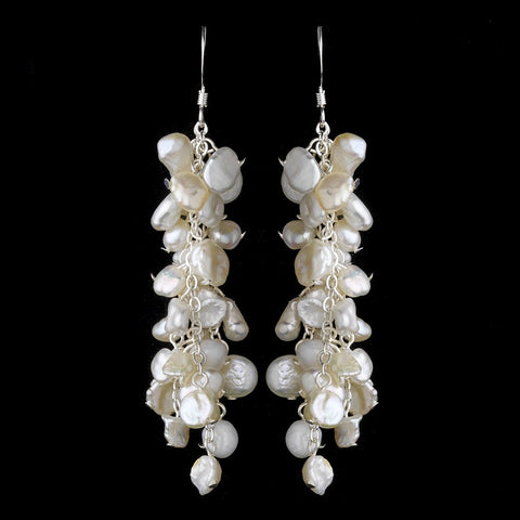 Dangle, Earrings, Freshwater Pearls, Ivory, Jewelry, Keshi Pearls, Pearls, Silver