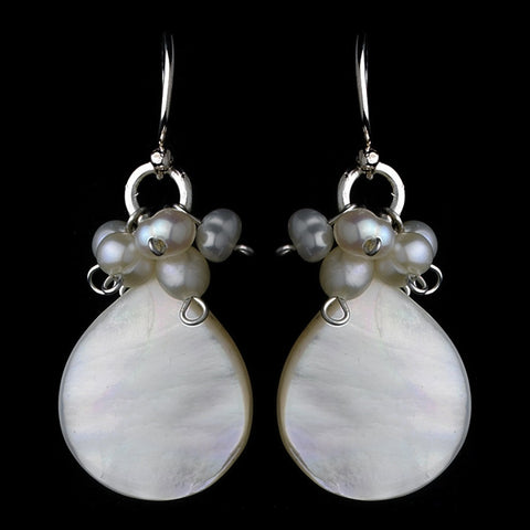 Beach, Drop, Earrings, Freshwater Pearls, Ivory, Jewelry, Mother of Pearl, Pear, Pearls, Silver
