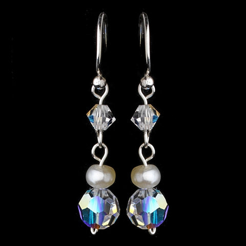 AB, Beach, Crystals, Dangle, Earrings, Freshwater Pearls, Ivory, Jewelry, Pearls, Silver, Swarovski Crystal Beads