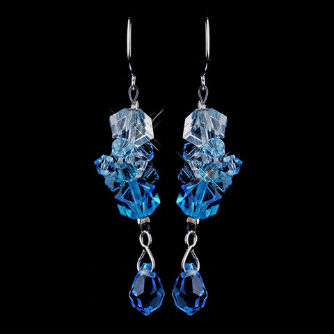 Aqua, Blue, Crystals, Dangle, Earrings, Jewelry, Silver, Swarovski Crystal Beads
