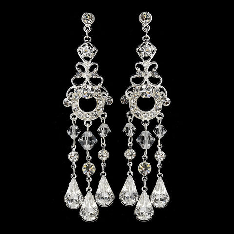 Chandelier, Clear, Crystals, Earrings, Jewelry, Pear, Rhinestones, Silver, Swarovski Crystal Beads