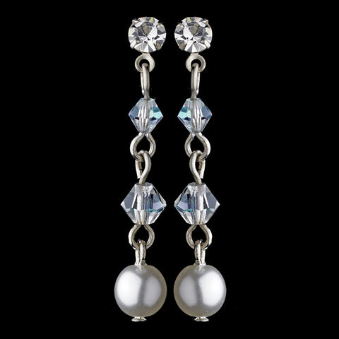 Crystals, Dangle, Earrings, Faux Pearls, Jewelry, Pearls, Rhinestones, Silver, Swarovski Crystal Beads, White