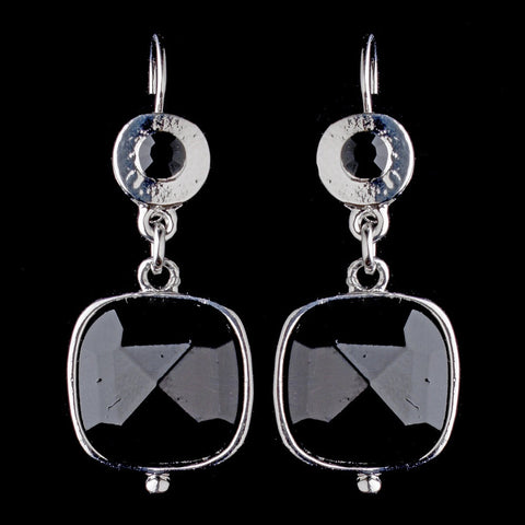 Black, Cushion, Drop, Earrings, Gemstones, Jewelry, Rhodium