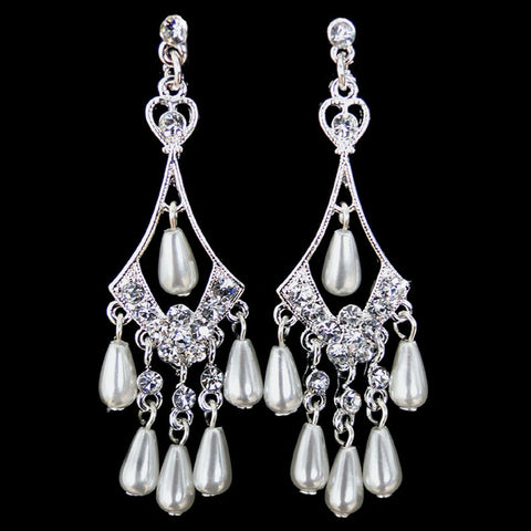 Chandelier, Diamond White, Earrings, Faux Pearls, Jewelry, Pear, Pearls, Rhinestones, Silver
