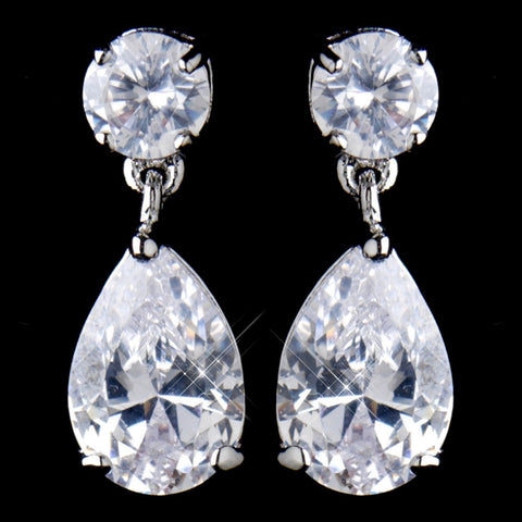 Clear, Crystals, Cubic Zirconias, Drop, Earrings, Jewelry, Pear, Rhodium