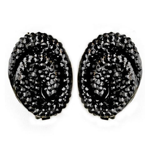 Black, Clip-On, Earrings, Jewelry, Rhinestones, Stud