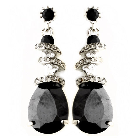 Black, Crystals, Cubic Zirconias, Drop, Earrings, Jewelry, Pear, Rhinestones, Silver