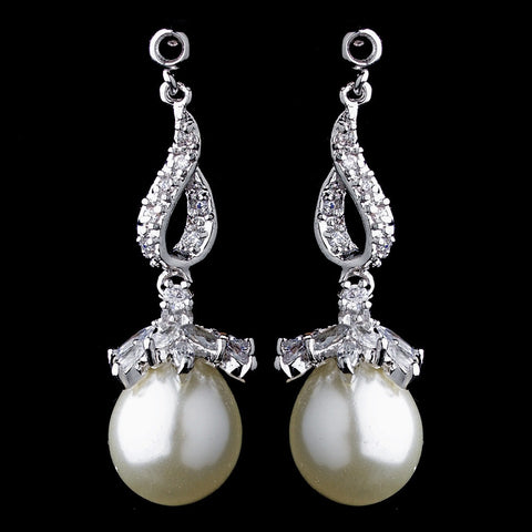 Crystals, Cubic Zirconias, Dangle, David Tutera for Mon Cheri, Earrings, Freshwater Pearls, Ivory, Jewelry, Pearls, Rhodium