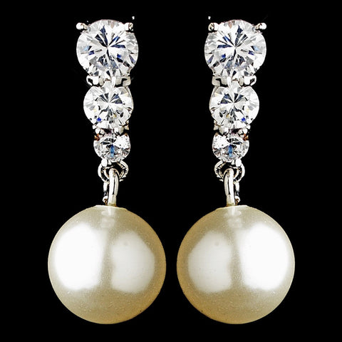 Crystals, Cubic Zirconias, Drop, Earrings, Faux Pearls, Ivory, Jewelry, Pearls, Rhodium