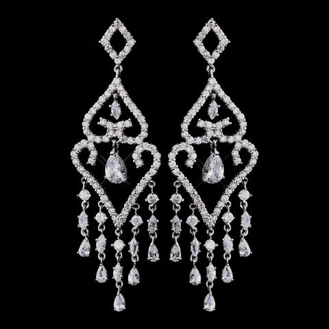 Chandelier, Clear, Crystals, Cubic Zirconias, Earrings, Jewelry, Marquise, Pear, Rhodium