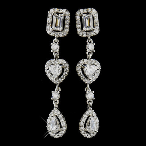Baguette, Clear, Crystals, Cubic Zirconias, Dangle, Earrings, Heart, Hearts, Jewelry, Pear, Rhodium, Valentine's Day
