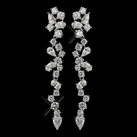 Clear, Crystals, Cubic Zirconias, Dangle, Earrings, Jewelry, Oval, Pear, Rhodium