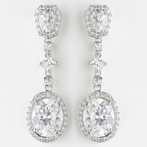 Clear, Crystals, Cubic Zirconias, Dangle, Earrings, Jewelry, Oval, Princess, Rhodium