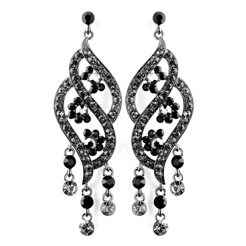 Black, Chandelier, Earrings, Jewelry, Rhinestones, Silver